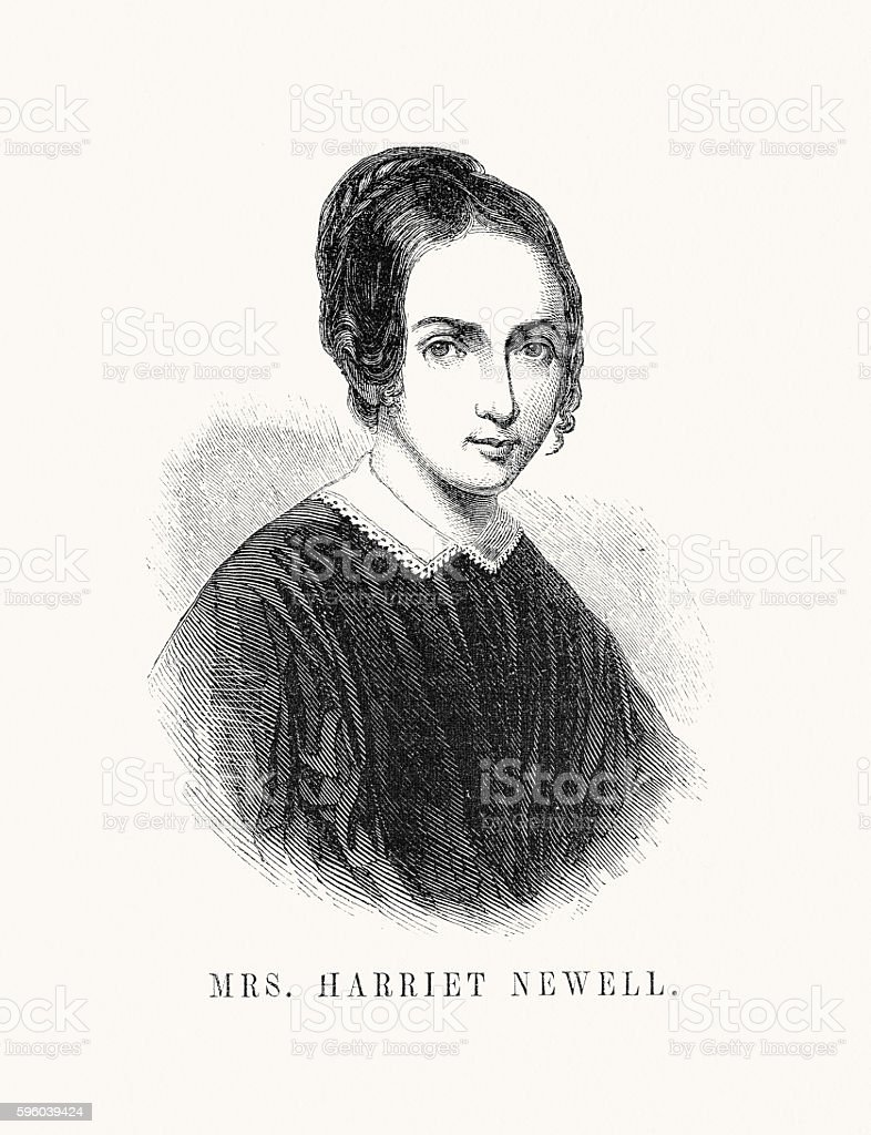 Mrs Harriet Newell vector art illustration