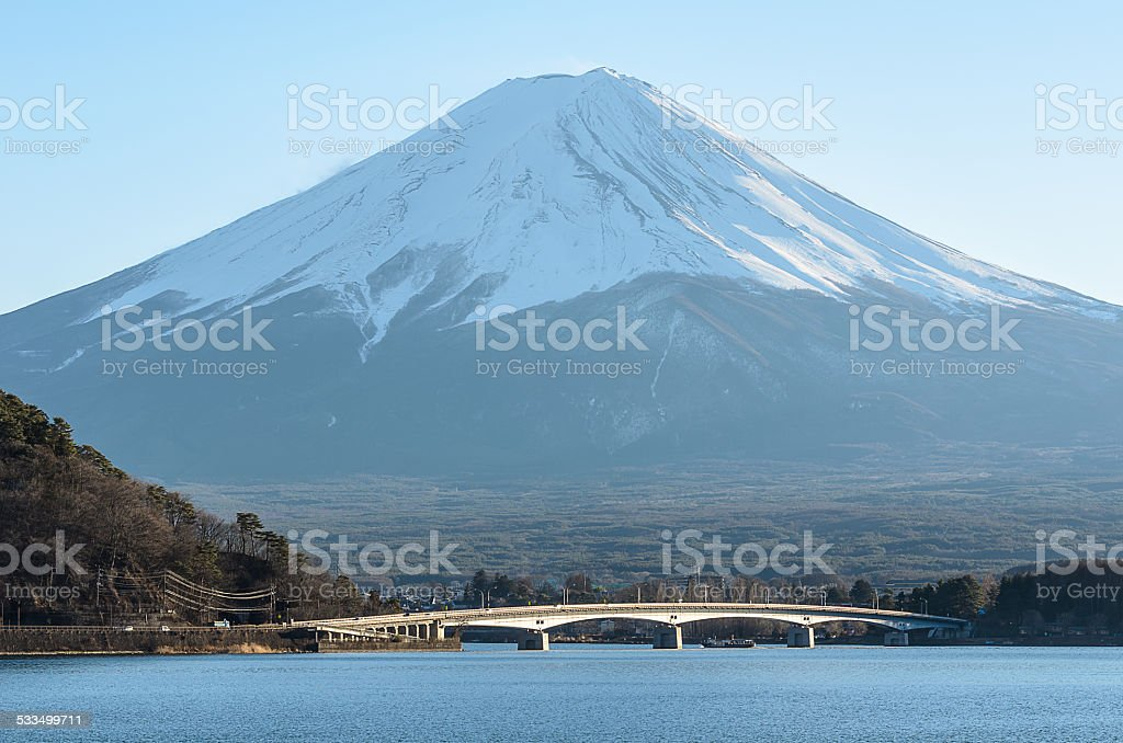 Mt Fuji View from Kawakuchigo Lake vector art illustration
