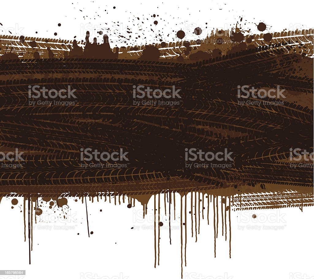 Muddy tracks background vector art illustration