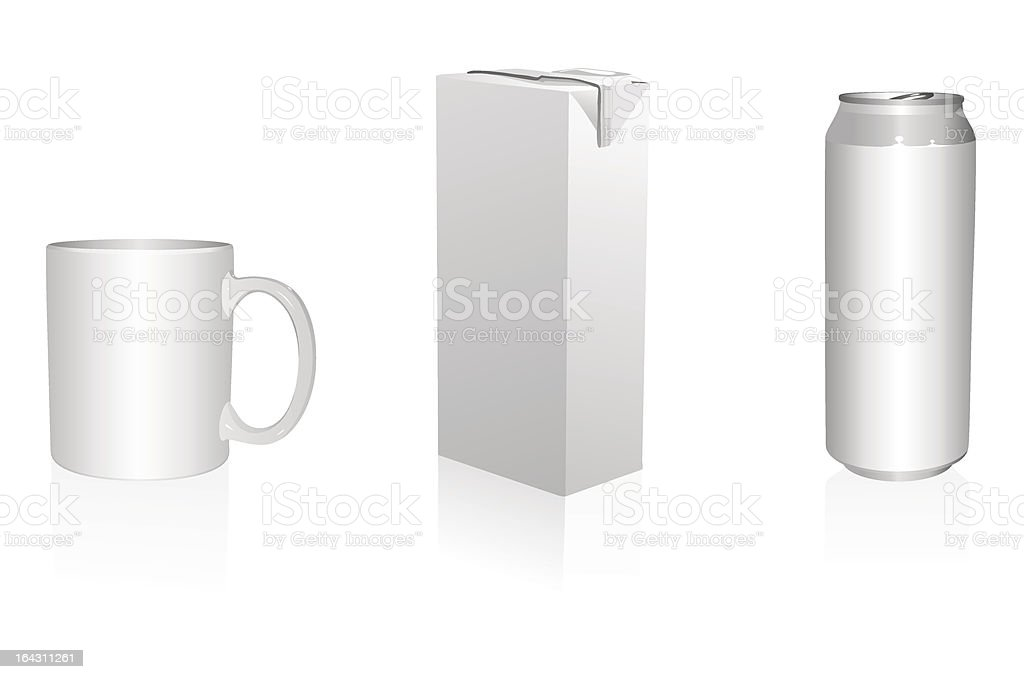 Mug, Juice Packing and Can royalty-free stock vector art