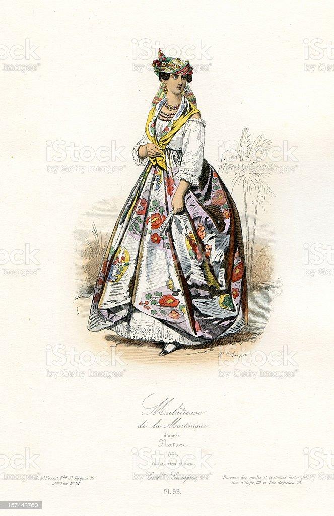 Mulatto Woman of Martinique vector art illustration
