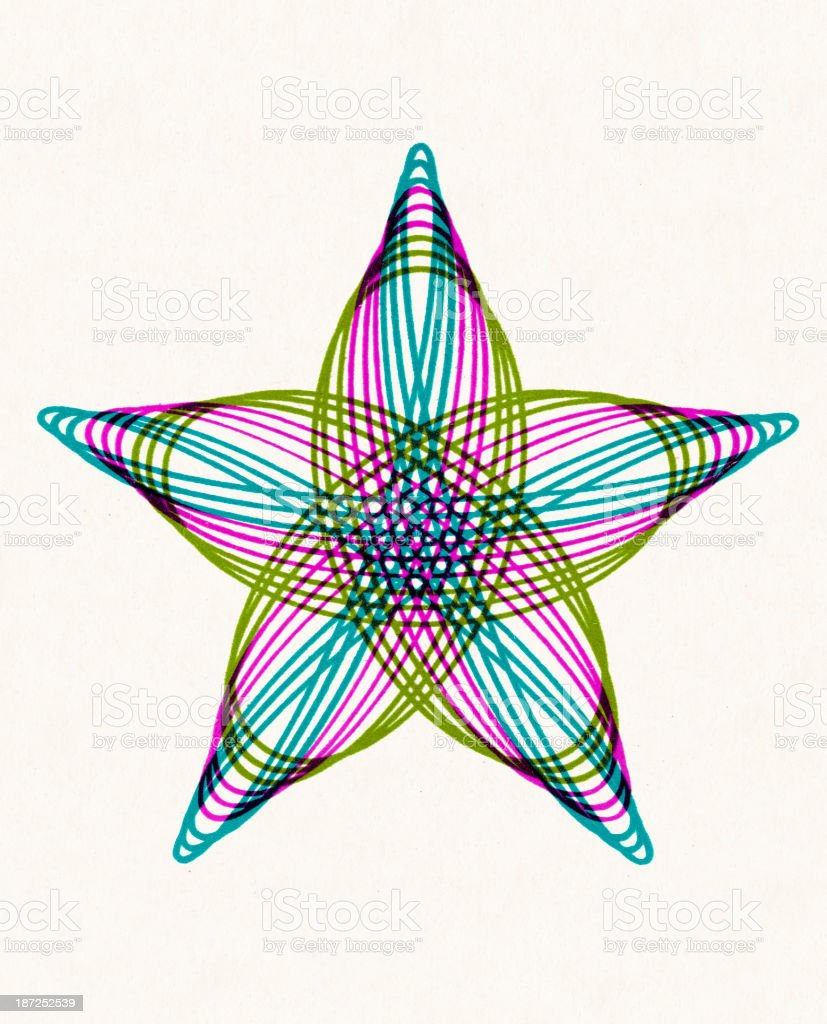 Multi Color Star Shape Line Drawing royalty-free stock vector art
