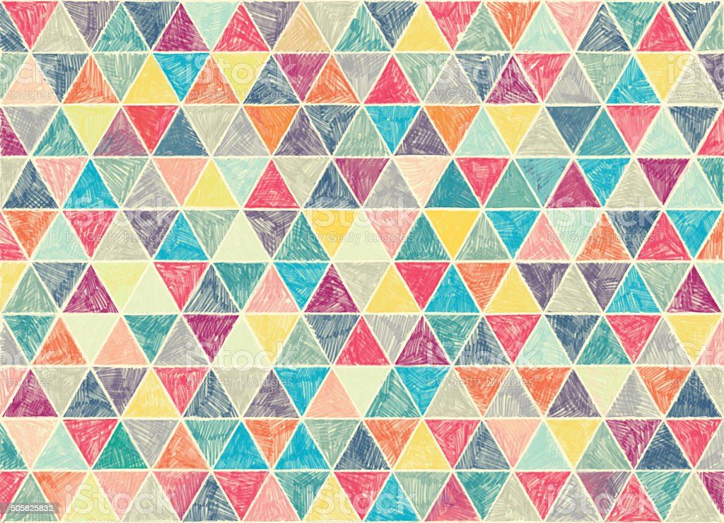 multi colored hand drawn vintage pattern of triangles. vector art illustration