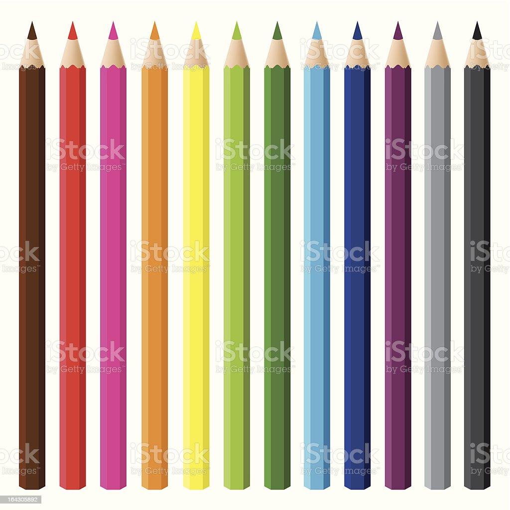 multicolor pencil set royalty-free stock vector art