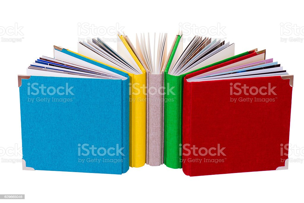 Multicolored book textile cover. Photobooks on a white background. vector art illustration