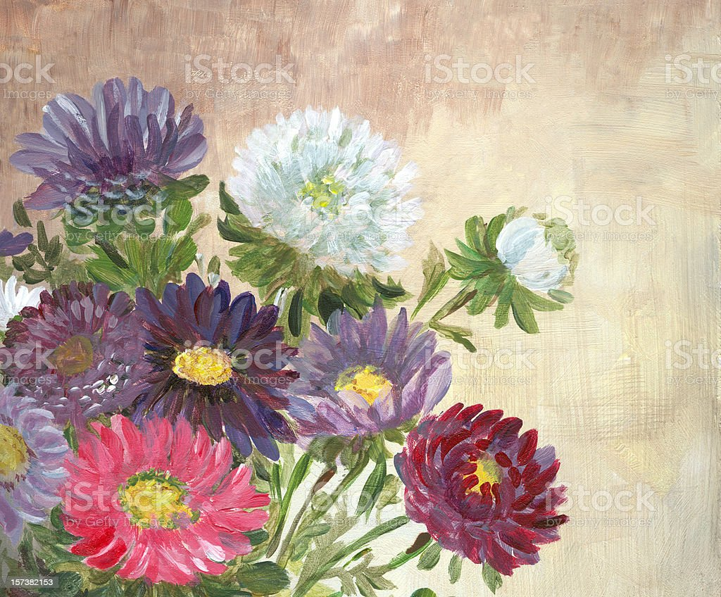 Multicolored Flowers Arrangement vector art illustration