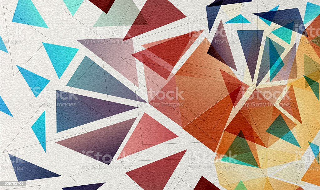 Multicolored mosaic on watercolor paper Background vector art illustration