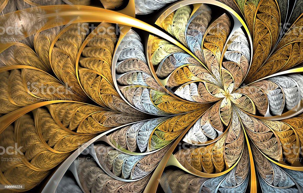 Multicolored symmetrical fractal pattern as flower vector art illustration