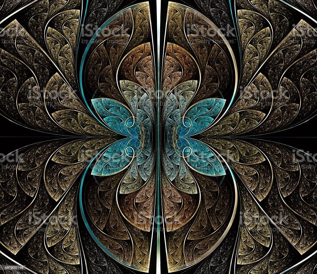 Multicolored symmetrical fractal pattern vector art illustration