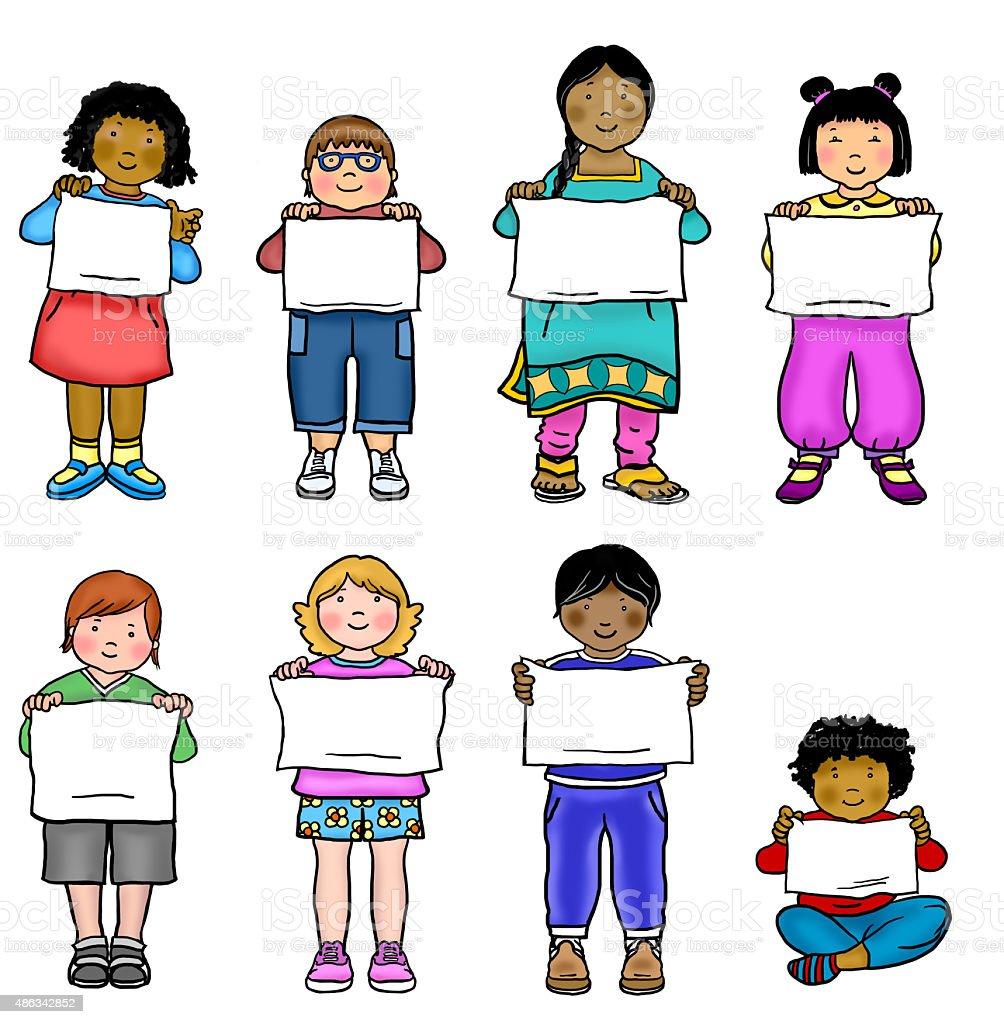 Multi-cultural kids in a line illustration vector art illustration