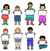 Multi-cultural kids in a line illustration