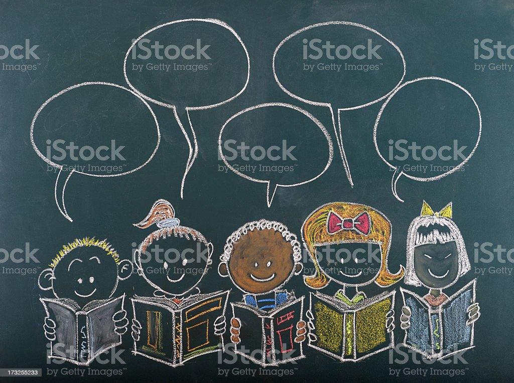 Multi-Ethnic Group of Children Sketched on Blackboard vector art illustration