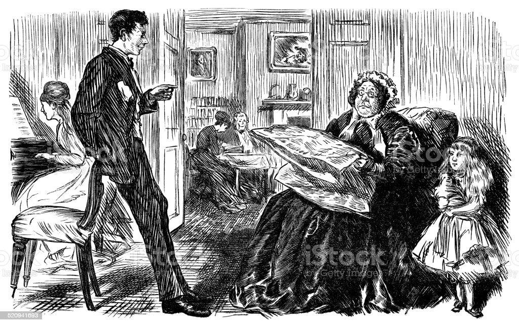 Multigenerational Victorian family vector art illustration