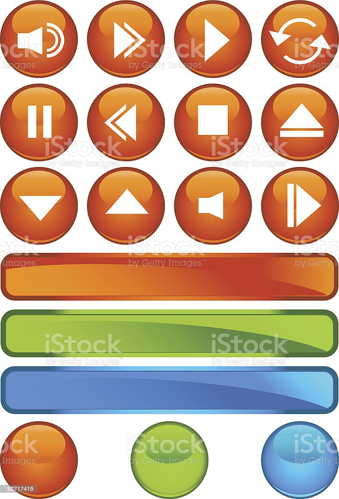 Multimedia Buttons: Shiny Round royalty-free stock vector art