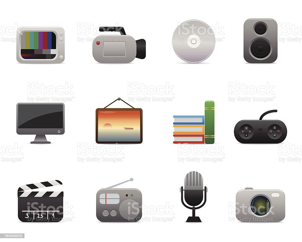 multimedia icons | smooth series vector art illustration