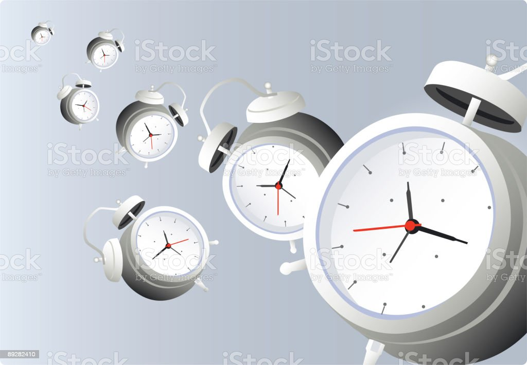 Multiple alarm clocks royalty-free stock vector art