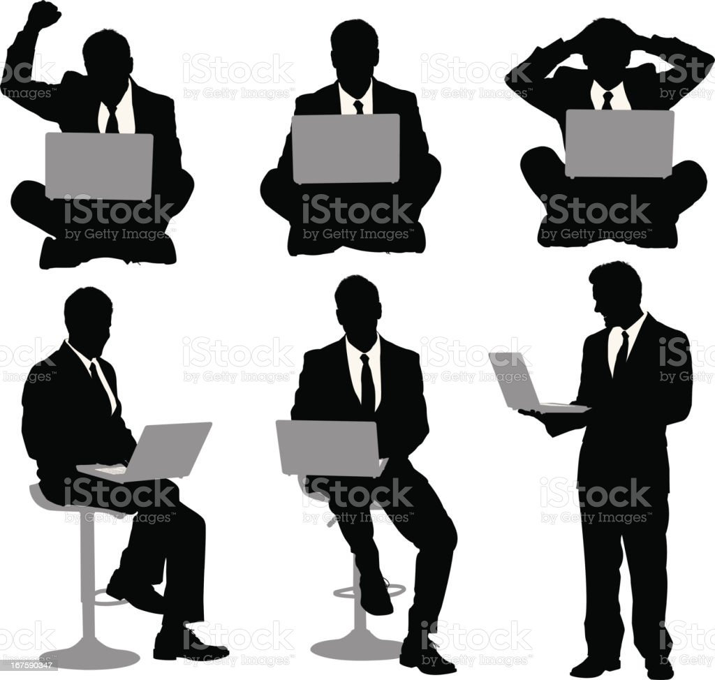 Multiple images of a businessman with laptop vector art illustration