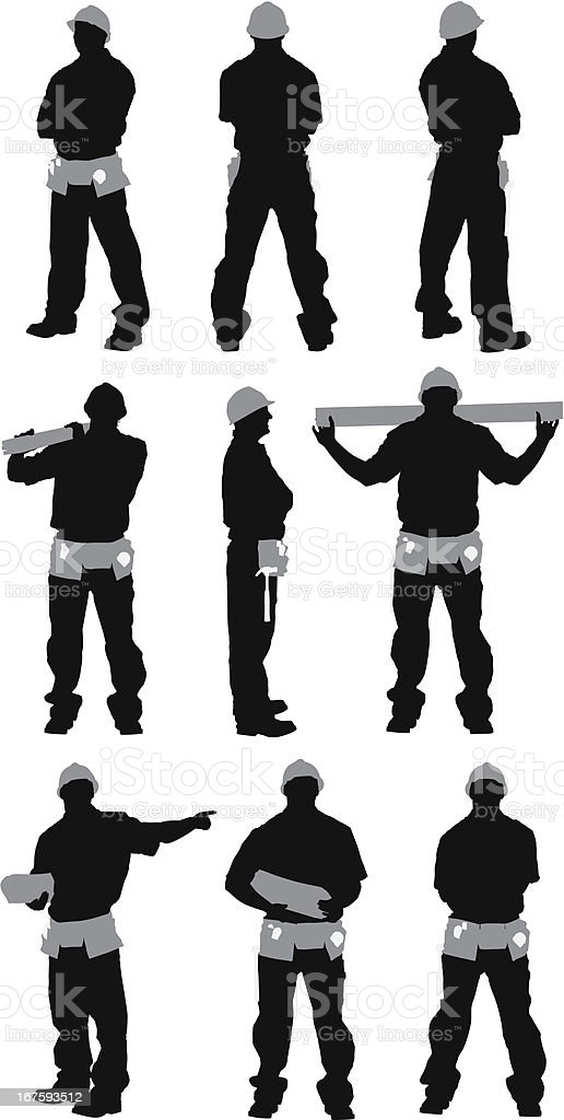 Multiple images of a carpenter royalty-free stock vector art