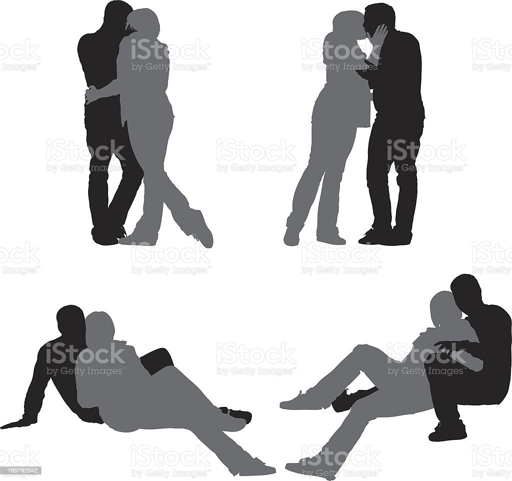 Multiple images of a couple romancing royalty-free stock vector art