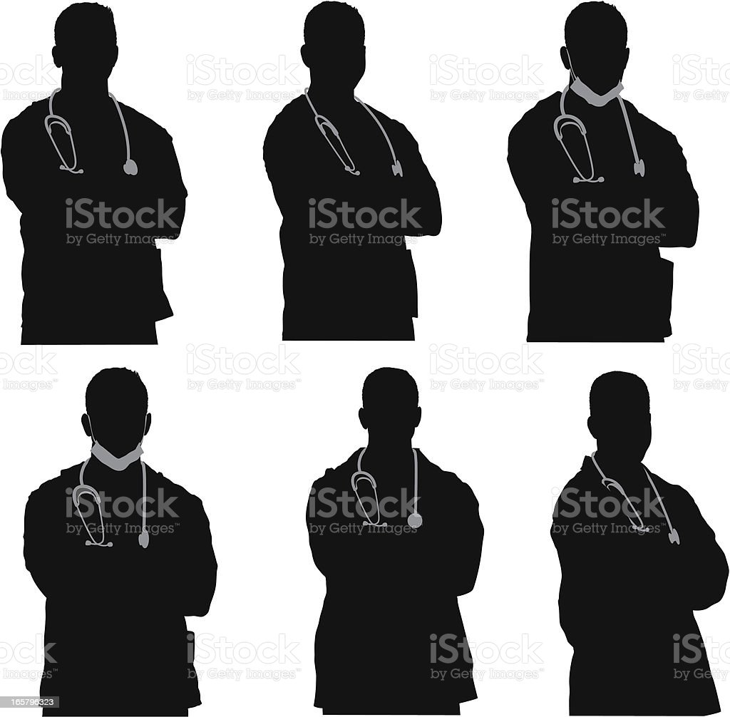 Multiple images of a doctor vector art illustration