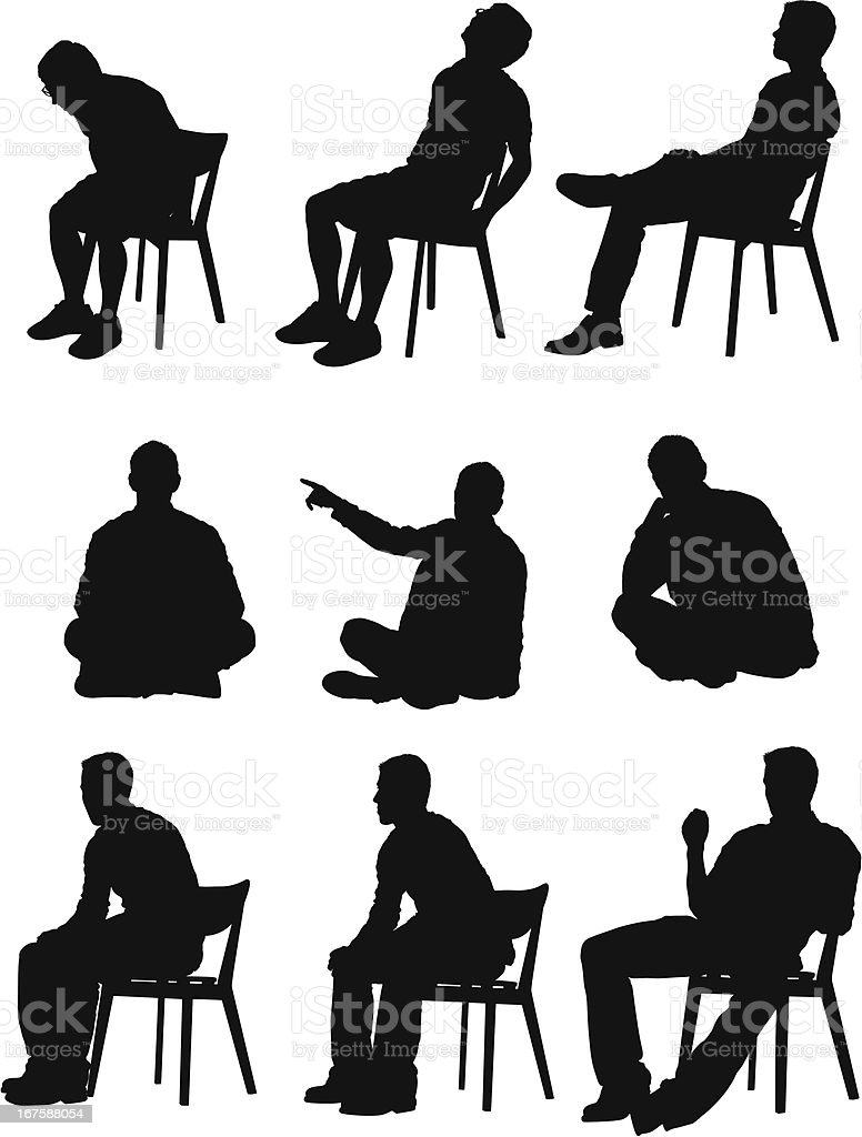 Multiple images of a man in different activities vector art illustration