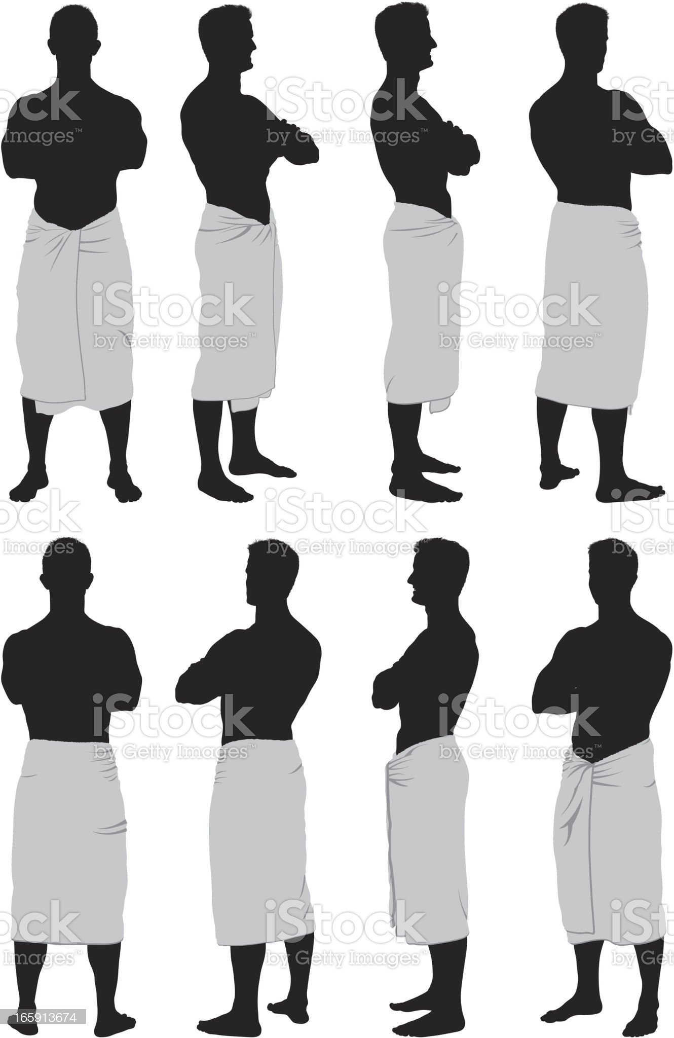 Multiple images of a man in towel royalty-free stock vector art