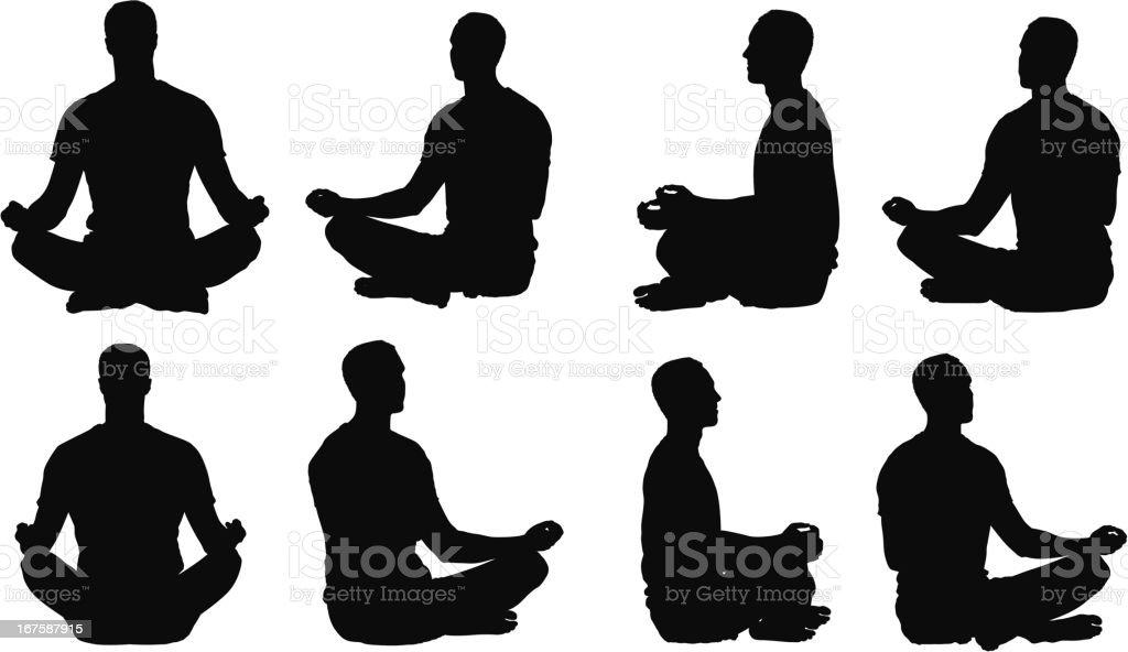 Multiple images of a man meditating vector art illustration
