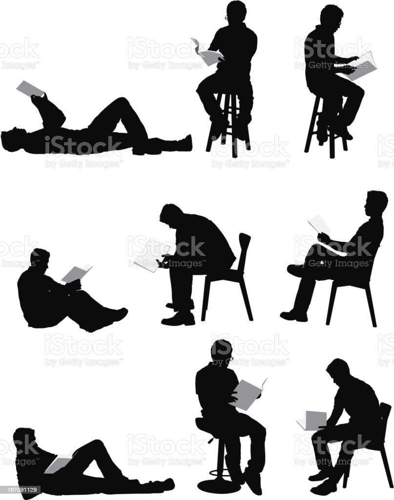 Multiple images of a man reading book vector art illustration