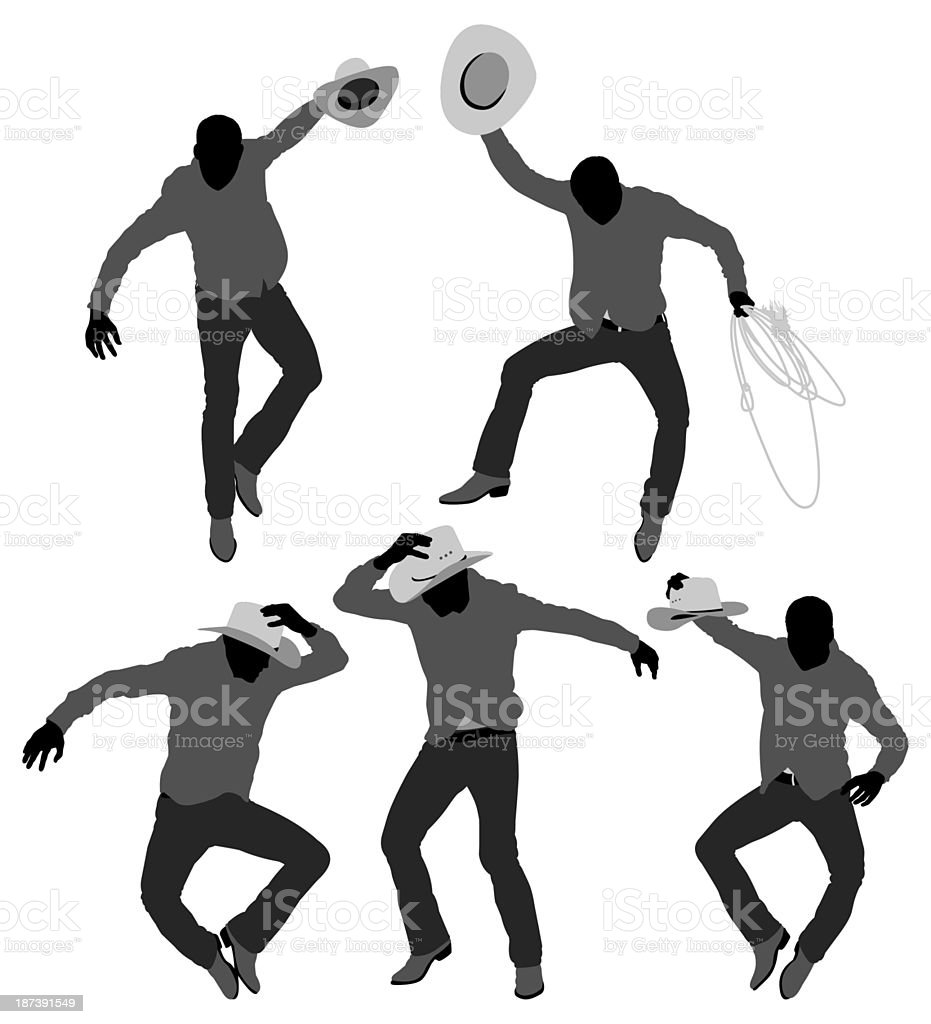 Multiple images of cowboy jumping royalty-free stock vector art
