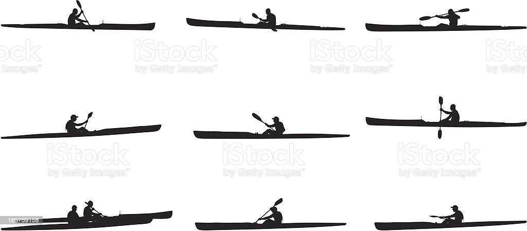 Multiple images of kayaking vector art illustration