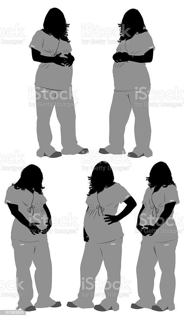 Multiple images of pregnant nurse standing royalty-free stock photo