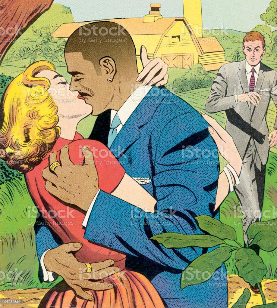 Multi-racial embrace vector art illustration