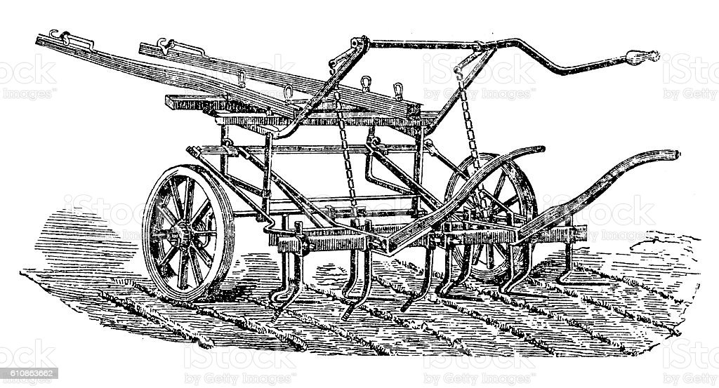 Multi-row hoeing vector art illustration