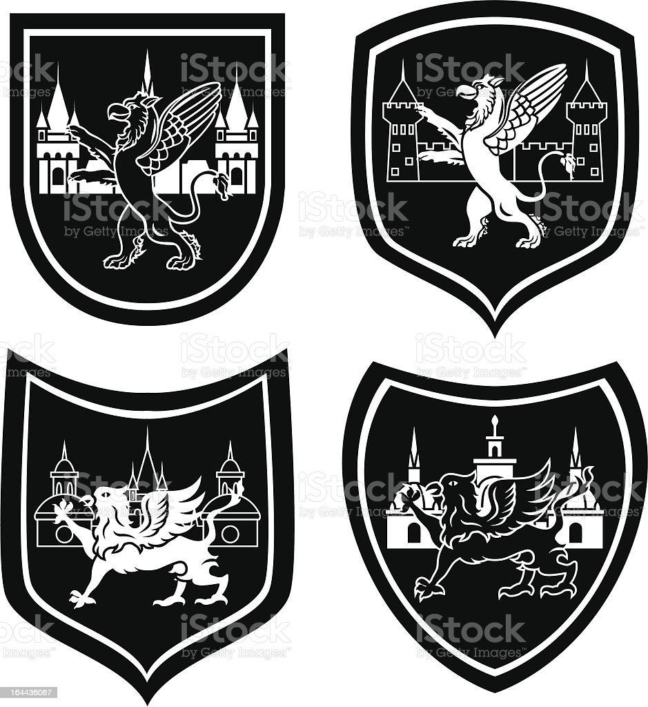 Municipal arm with a griffin vector art illustration