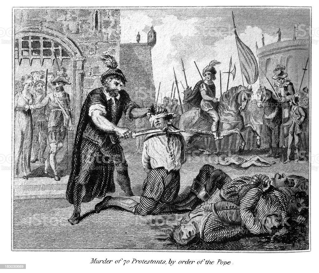Murder of 70 Protestants vector art illustration