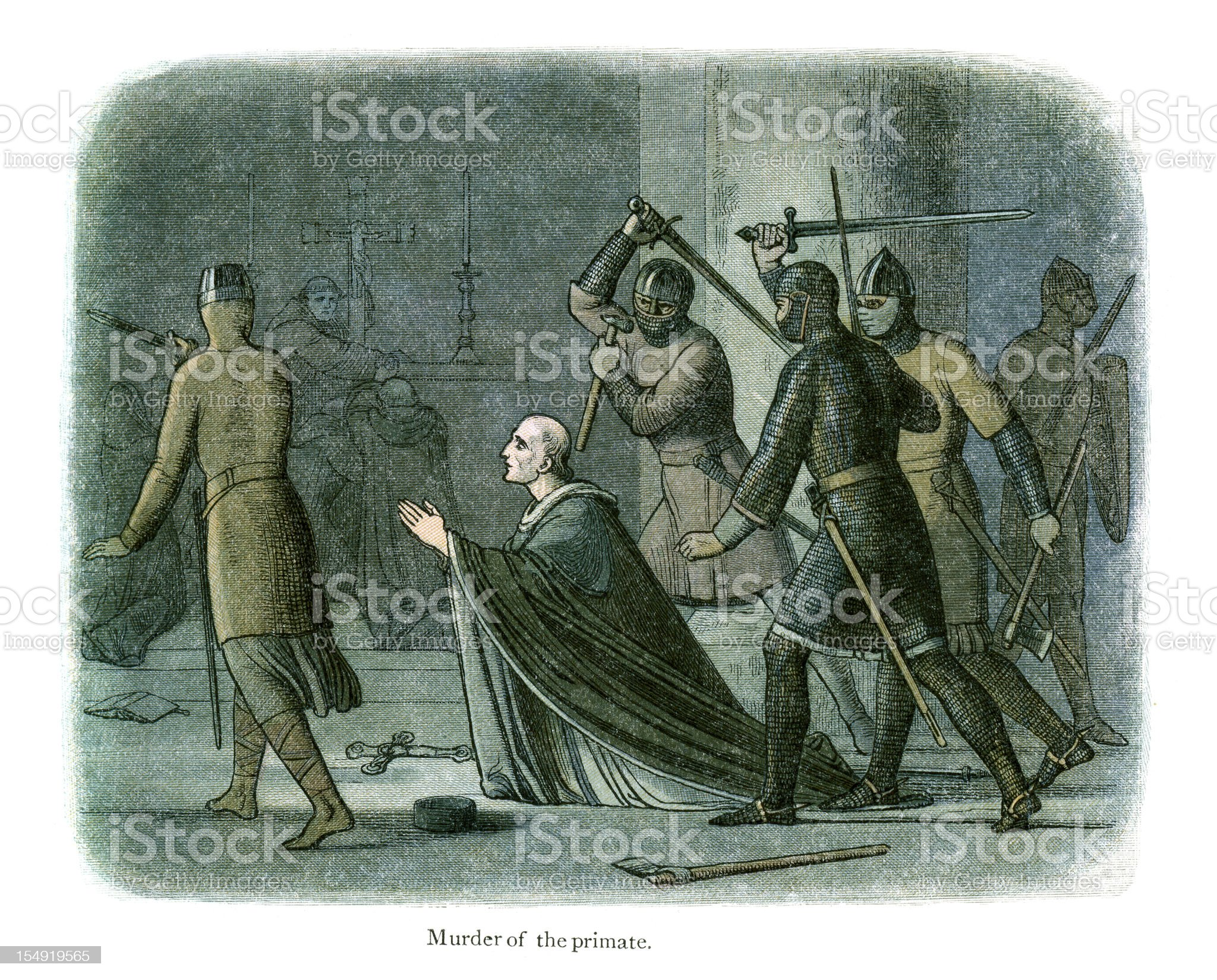 Murder of Thomas Becket royalty-free stock vector art