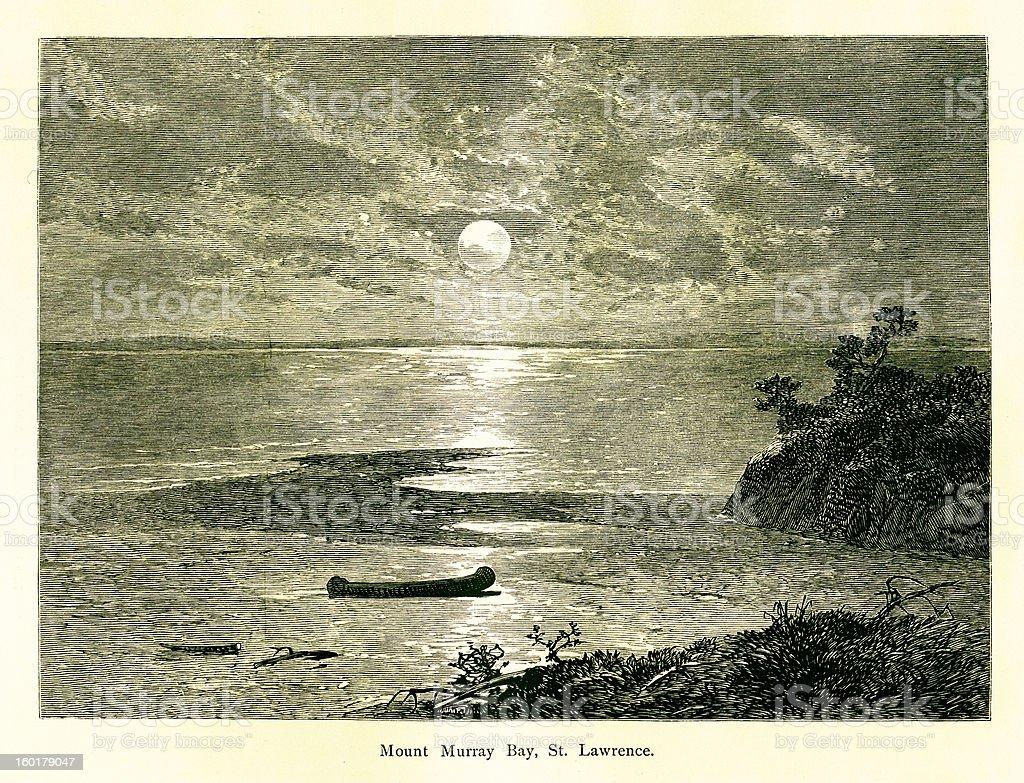Murray Bay, Saint Lawrence River, Canada vector art illustration