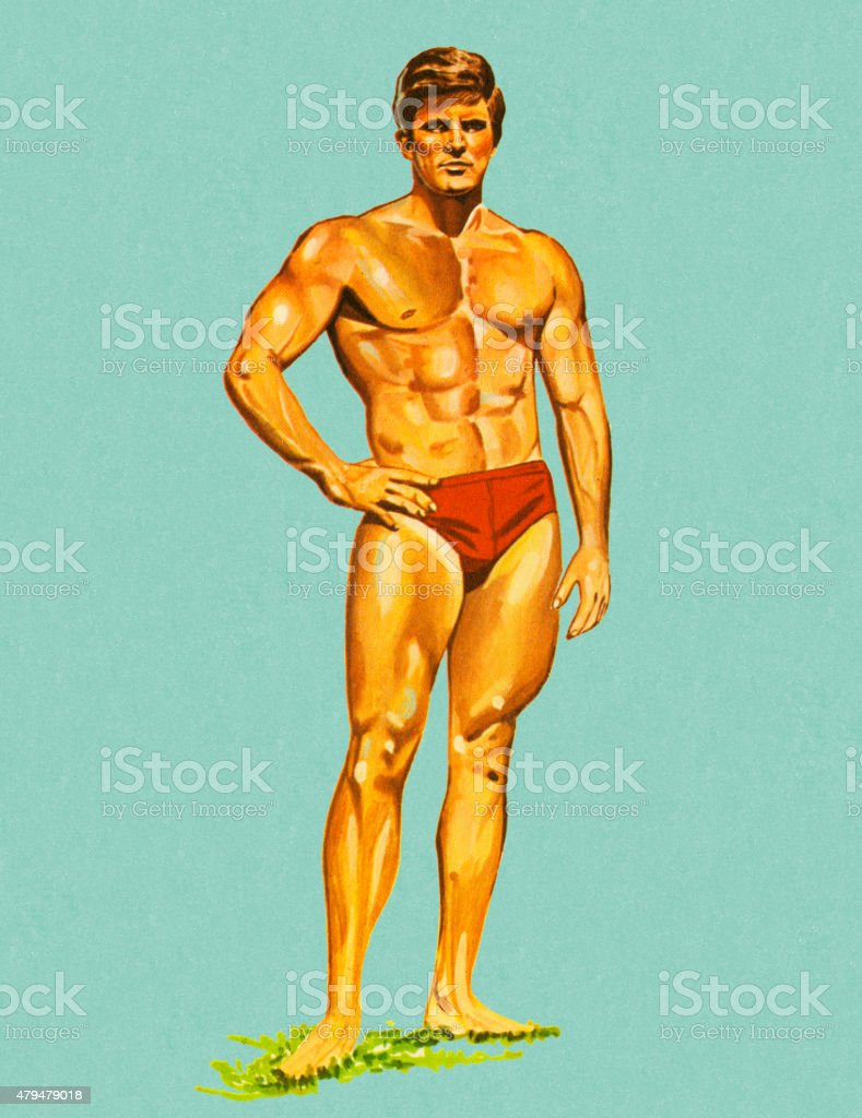 Muscle Man in Swim Trunks vector art illustration