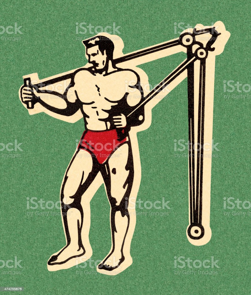 Muscle Man Working Out vector art illustration