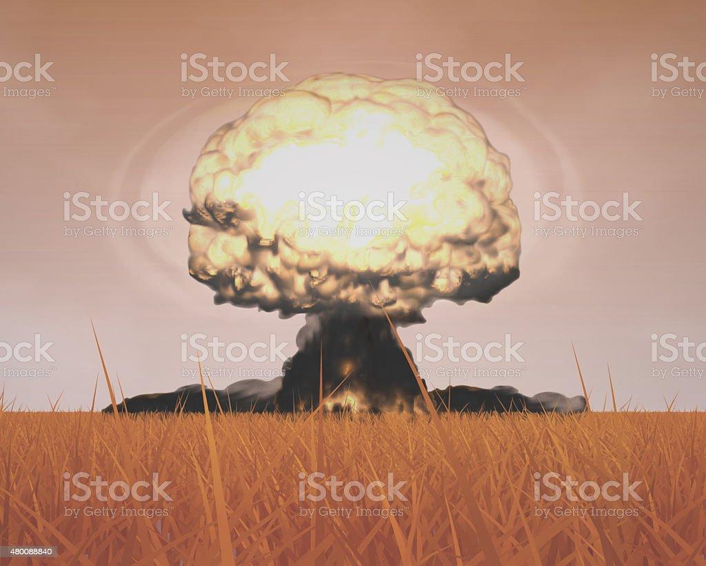 Mushroom Cloud of Nuclear Explosion vector art illustration