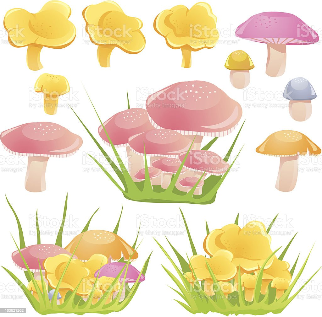Mushrooms in the grass royalty-free stock vector art