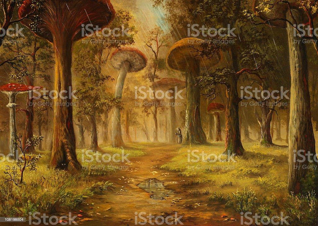 Mushrooms rain vector art illustration