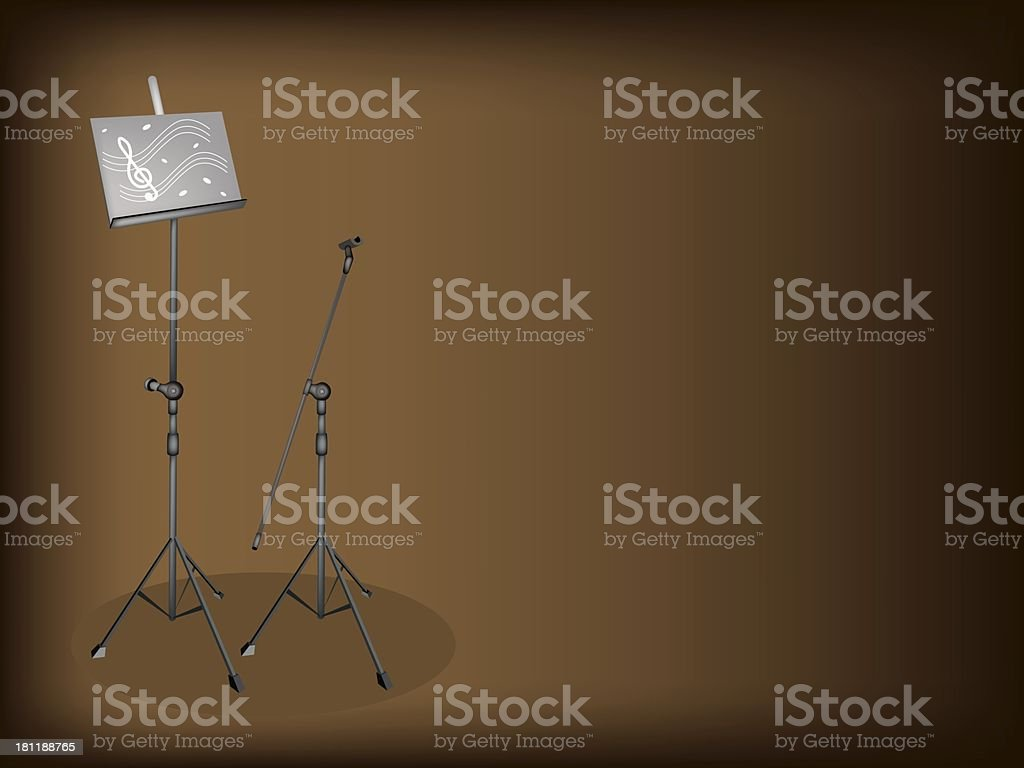 Music and Microphone Stand on Brown Background royalty-free stock vector art