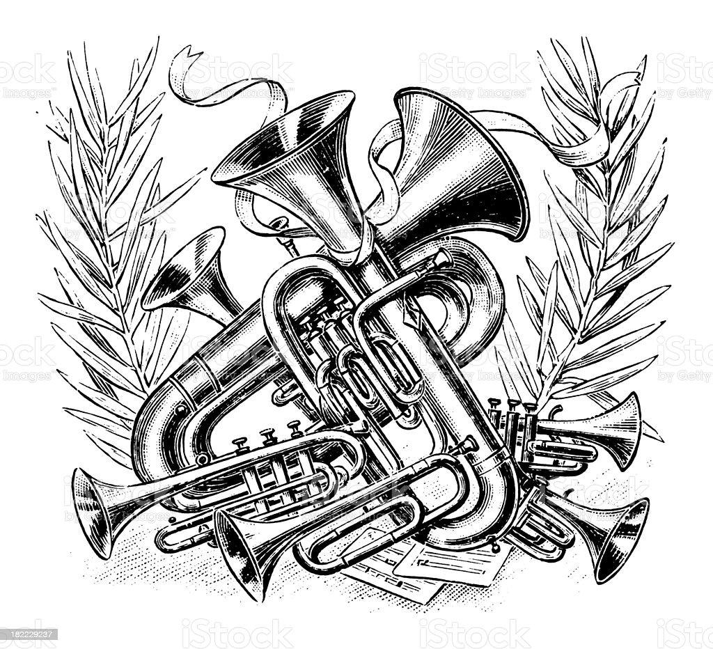 Music   Antique Design Illustrations royalty-free stock vector art