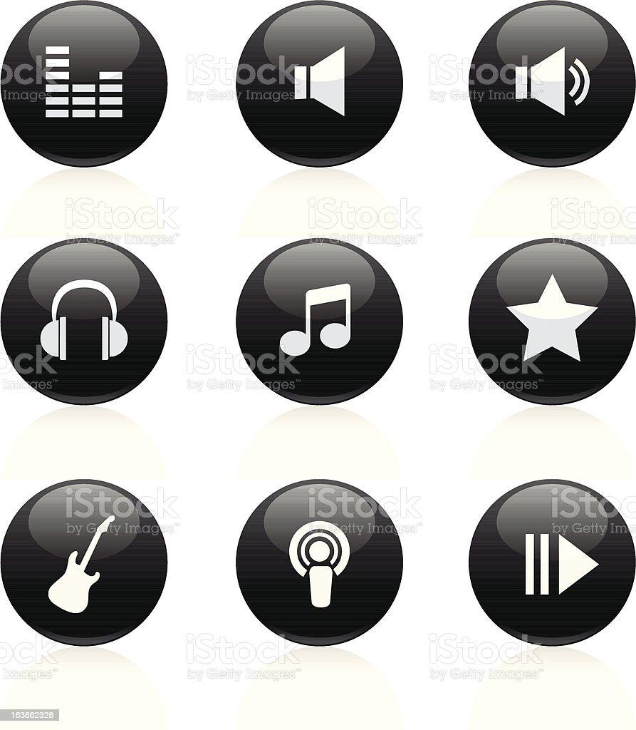 Muzyka czarny błyszczące stockowa ilustracja wektorowa royalty-free
