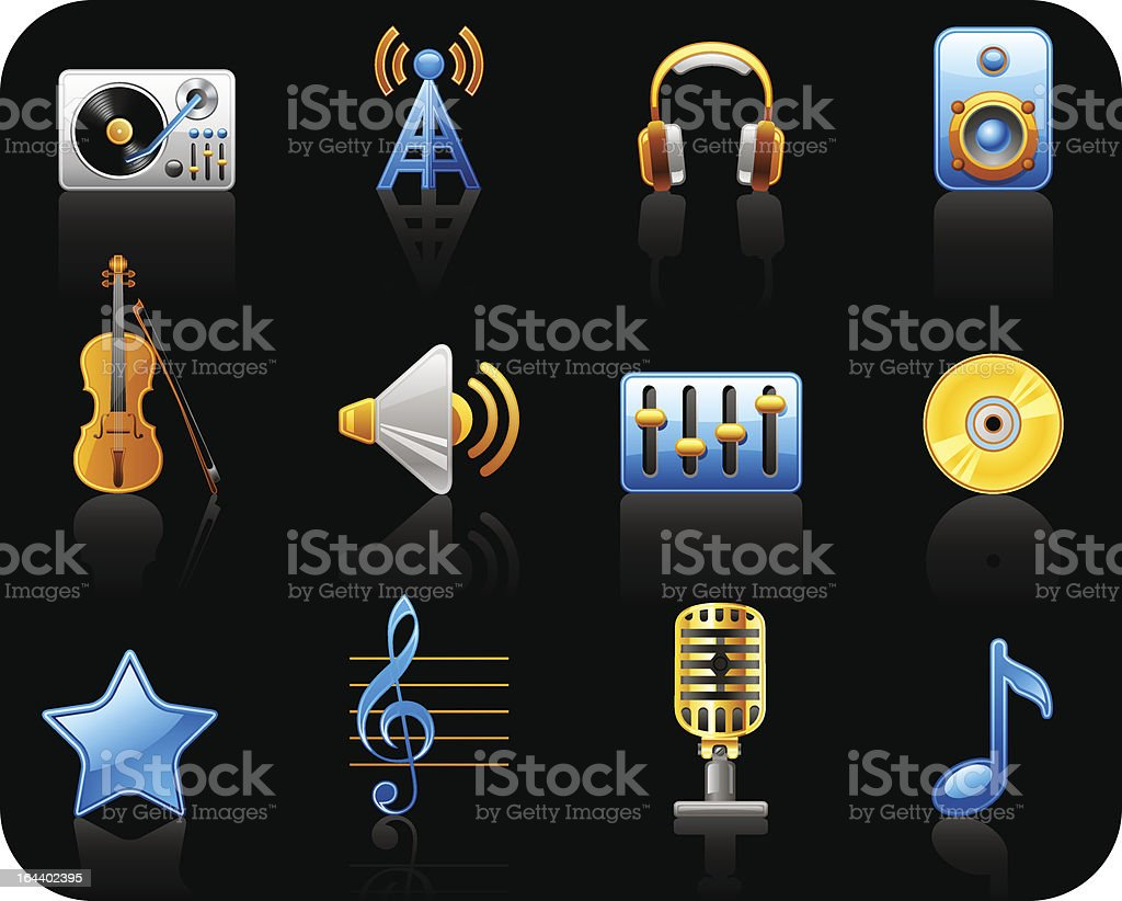 Music black icon set royalty-free stock vector art
