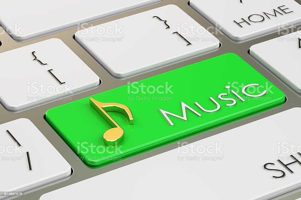 music button, key on keyboard. 3D rendering vector art illustration