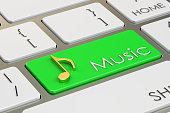 music button, key on keyboard. 3D rendering