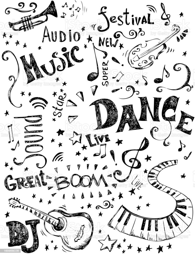 Music doodles royalty-free stock vector art
