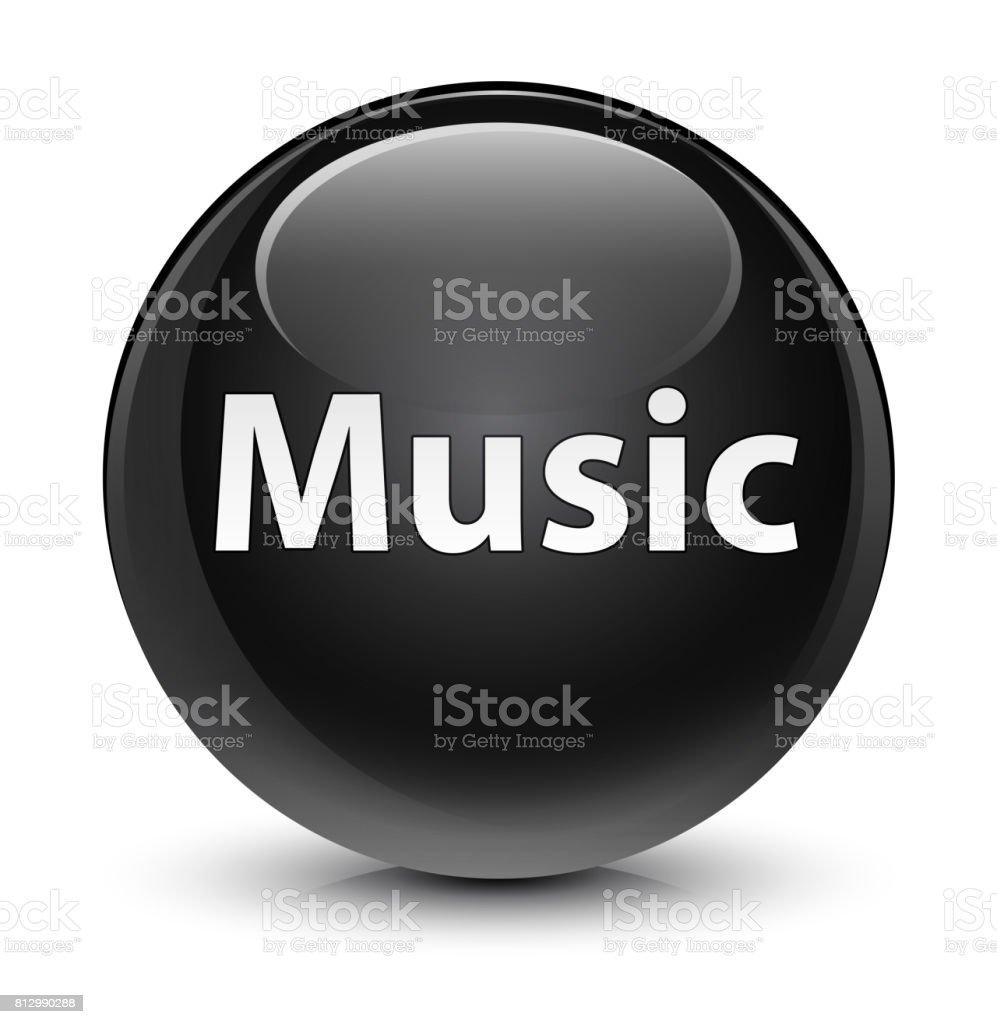 Music glassy black round button vector art illustration